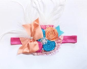 Ready to Ship- Turquoise, Fuchsia, & Light Orange Flower Headband- girl, child, toddler, pearls, feathers, rhinestones, wedding, birthday