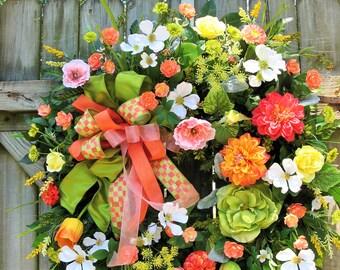 Spring Wreath, Summer Wreath, Mackenzie Childs Ribbon Wreath, Ivysage Designs Wreath, French Cottage Wreath, Coral Wreath, Door Wreath