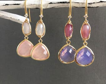 Pink and Gold, Pink Dangling earrings, Pink gemstone Jewelry, Dangling Earrings, Chalcedony earrings, Blush Pink Earrings, Muse411,