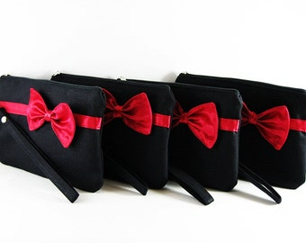 SALE - Black with Red Clutch / Bridal Clutch / Bridesmaids Clutch / Wedding Clutch | 9.90 USD per piece.