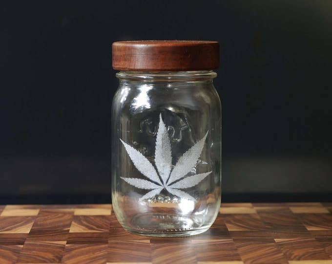 Stash Jar - One Pint - Beautifully Engraved - Custom Sealed Mahogany  Lid