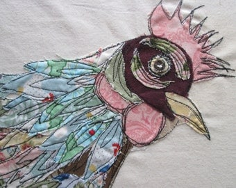 textile art, fabric collage, chicken picture, ready to frame art