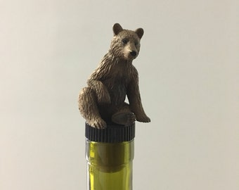 Bear Wine Stopper, Brown Bear Wine Gift, Bear Wine Gift, Brown Bear Wine Gift, Animal Wine Stopper, Animal wine Gift