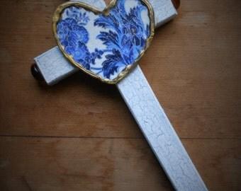 Cross crosses MOTHERS DAY GIFT religious gift heart cross hand painted blue and white cross religious art christian catholic art crosses