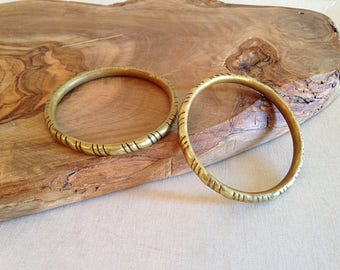 Vintage Brass Bangle Bracelets Set of Two