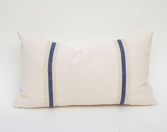 Applied Woven Trim On Cotton Canvas Decorative Throw Pillow Cover