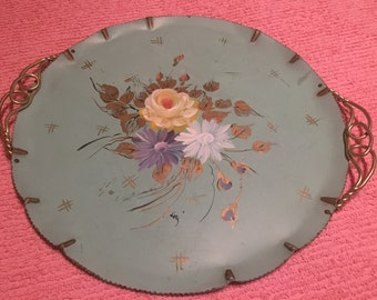 TOLE TRAY BLUE Round with Gold Twisted Handles Farber and Shlevin N Y/Shabby Chic, Regency/Mid Century at Ageless Alchemy