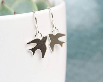 Sterling silver swallow drop earrings