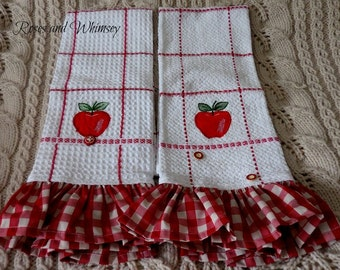 Pair of Waffle weave Tea Towels - dish towels - red apple - gingham ruffle - red/white trim