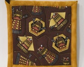 Dr Who Pot Holders - Daleks - Quilted Hot Pads - Handmade - Brown/Gold/Tan/Grey
