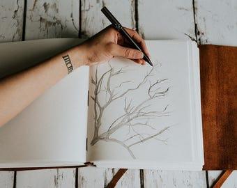 Leather Sketchbook | Leather notebook | Large sketchbook , leather journal, initials journal, sketchbook portfolio