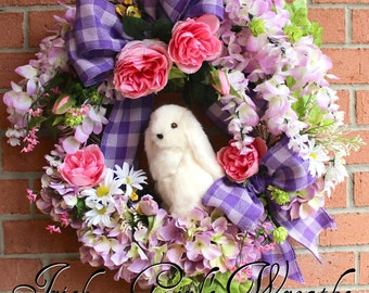 Spring Wreath, Bunny Wreath, Easter Floral Wreath, Spring Door, Wisteria Wreath, Rabbit wreath, Lavender Nursery Decor, Bunny Floral