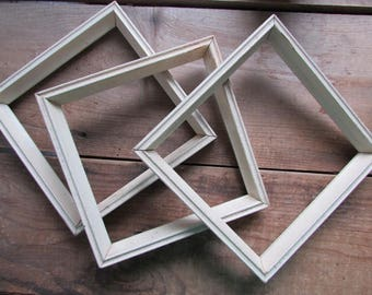 3 Vintage Wood Frames Painted Empty Square Frames 7 x 7