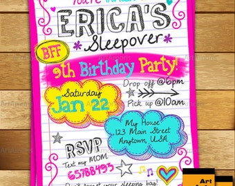 Sleepover Invitation, Birthday Invitation, Sleep Over Party, Slumber Party Invitation, Teen Doodle Sleepover Invitation, Pajama Party R-145
