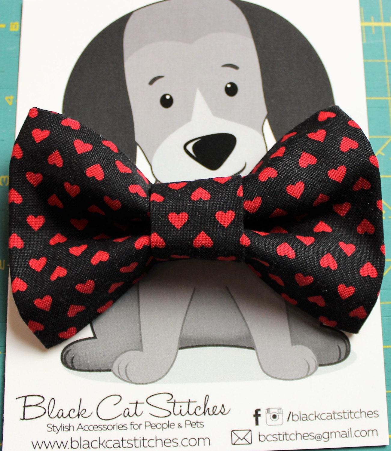 Heart Bow Tie for Cat Dog Bow Tie Slide on Collar Accessory