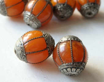 TWO Tibetan amber resin focal beads - 24x20mm amber coloured copal resin and Tibetan silver capped beads, large ethnic beads - 2 pcs.