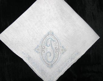 Initial Handkerchief Embroidered Wedding Handkerchief Monogrammed Hankie BLUE Bride Handkerchiefs Initial D, J, E, F or  L