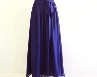 Blue Maxi Skirt. Blue Long Bridesmaid Skirt. Floor Length Chiffon Skirt. Long Evening Skirt.
