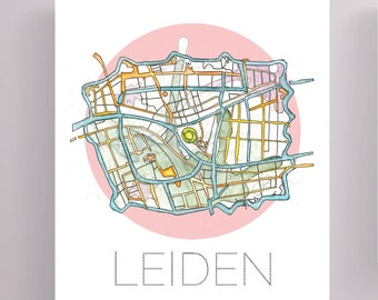 Map of Leiden, Watercolor Painting Leiden, Leiden The Netherlands, Dutch City Map, City Map