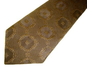 1970s Brown Polyester Tie Mens Vintage Disco Era Textured Woven Polyester Solid Brown Wide Necktie