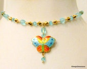 Butterfly Choker, Butterfly Necklace, Colorful Necklace, Butterfly Pendant, Handmade, Pendant Necklace, Crystal Necklace, Gift for Her