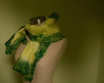 Handmade Wet Felting Merino wool Green  Scarf