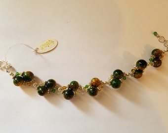 Green & Yellow Coated Glass Weaved Bracelet