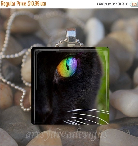 10% OFF DECEMBER SALE : Black Cat Eye Kitty Cat Green Eye Glass Tile Pendant Necklace Keyring