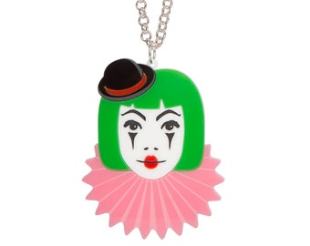 Clown Necklace - laser cut acrylic