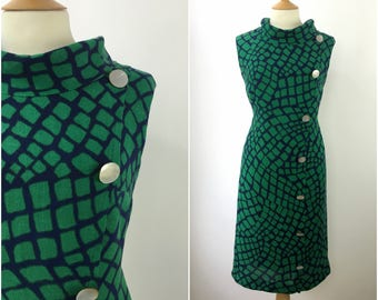Vintage 1950s Dress - 50s Green Geometric Dress  - 50s Sheath Wiggle Pencil dress - Button Detail - Pinup - Large - UK 16 / US 12 / EU 44 -