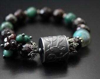 Anne Choi mistletoe bead bracelet garnet and verdite bracelet Basha bead stretch stacking bracelet fall holiday woodland boho bracelet