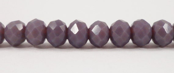 "Crystal Rondelle Beads 6x4mm (4x6mm) Opaque Heather Purple Crystal Beads, Chinese Crystal Glass Beads on a 9"" Strand with 50 Beads"