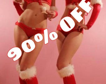 Sexy red and white Santa Christmas go go club dance costume