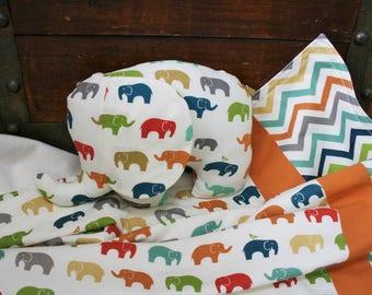 Elephant Baby Blanket, Organic Baby Blanket, Baby Shower Gift Set, Organic Stuffed Animals, Receiving Blanket, Elephants, Ready to Ship