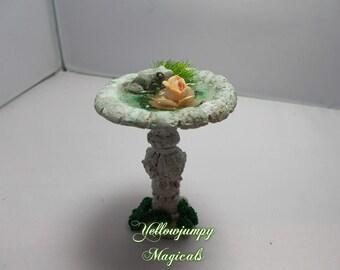 1/12th dollhouse miniature garden Frog bird bath