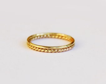 Set of 2 Simple 14K Gold Filled Rings - Stackable - Gold Stacking Rings - Gold Rope Twist Ring