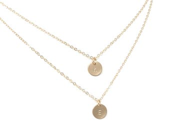 Layered Initial Necklace - Layered Monogram Necklace - Gold Initial Necklace - Layering Necklaces