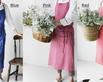 Linen 100% Premium Gift Chef Works Handmade Apron Japanese style Cross back Shape Cotton APRON- VIVID 3 Colors