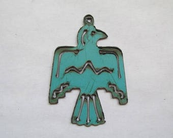 Thunderbird Phoenix bird Turquoise metal pendant #EWKS-10