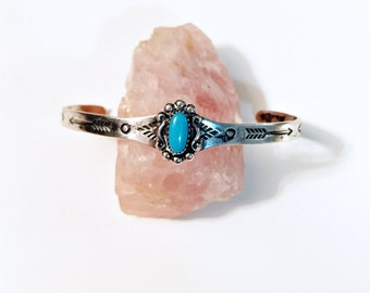 Vintage Bell Trading Post sterling silver and turquoise arrow stamped childrens cuff bracelet