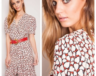 divine vintage 70s/80s GIVENCHY COUTURE red & white heart print silk frill ruffle dress