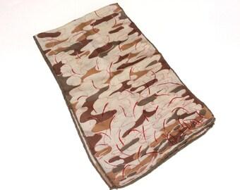 Vintage Richard Allan Silk Scarf, Designer Silk Scarf, Rolled Hems, Abstract Pattern, 1970s