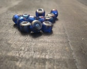 9mm Translucent Dark Blue Glass Crow Beads ~ one package of 50 pieces