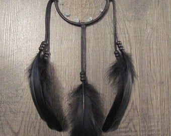 Dream Catcher Black Deerskin Leather with Black Goose Feathers