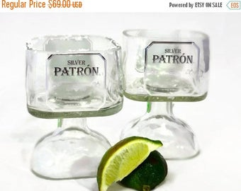 SALE TODAY ONLY Set of Two Small Patron Tequila Bottle Margarita Drinking Glasses 375ml