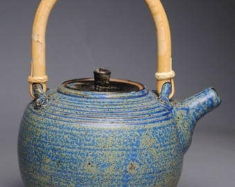 Clay Teapot Blue with Cane Handle G34