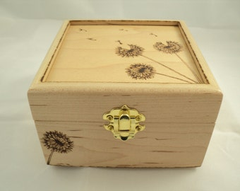 Maple Wood Woodburned Three Dandelion and Dandelion Fluff Keepsake or Jewelry Box