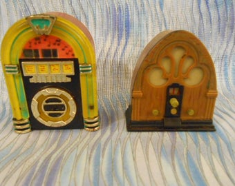 Two 1996 Acme Refrigerator Magnets-Junk Box and Radio