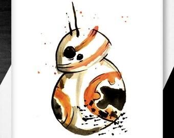Valentine's Day / Anniversary Card BB-8 Star Wars Inspired Card, nerd geek, girl, guy, dork, comic.