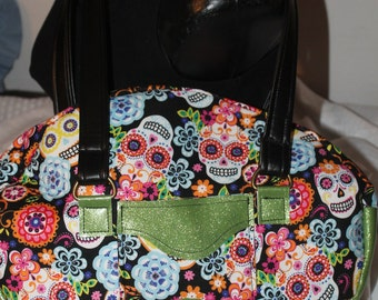 Sugar Skull Shoulder Handbag Purse with Green Metalic